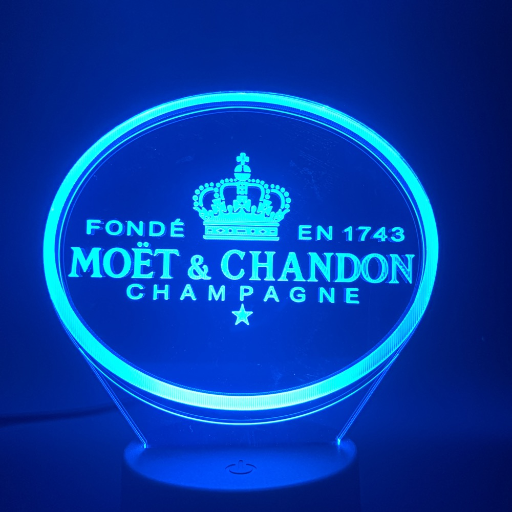 Moet Et Chandon 3d Led Night Light Lamp Gift For Clients Friend Baby Nightlight Usb Or Battery Powered Office Decorative Lamp 3D