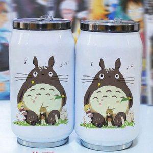 Taza Termo con dibujos animados de 300ml, lata de cola de my vecino totoro de acero inoxidable, taza con figuras de anime japonesas hayao miyazaki