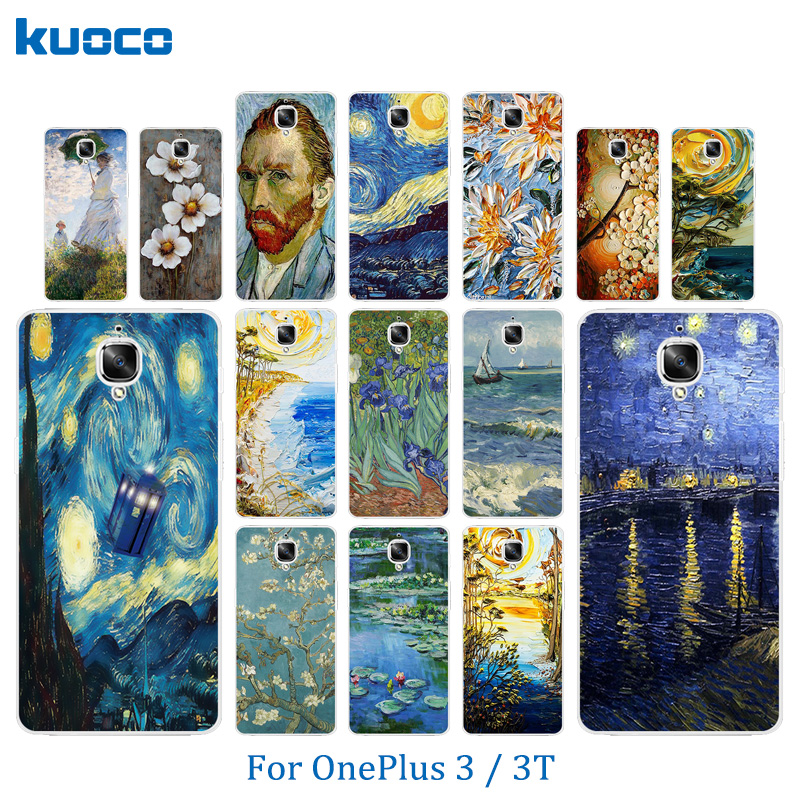 Phone Case for OnePlus 3 / 3T Case A3000 Van Gogh Pattern Protective Back Cover for One Plus 3 Fundas OnePlus3 T Coque Bags