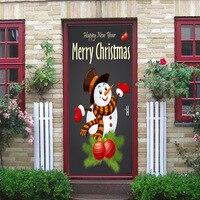 77x200 centímetros Boneco de Neve Natal Mural Vinyl Decal Home Decor Auto Sdhesive Porta Etiqueta Para Sala de estar Quarto DIY cartaz à prova d' água