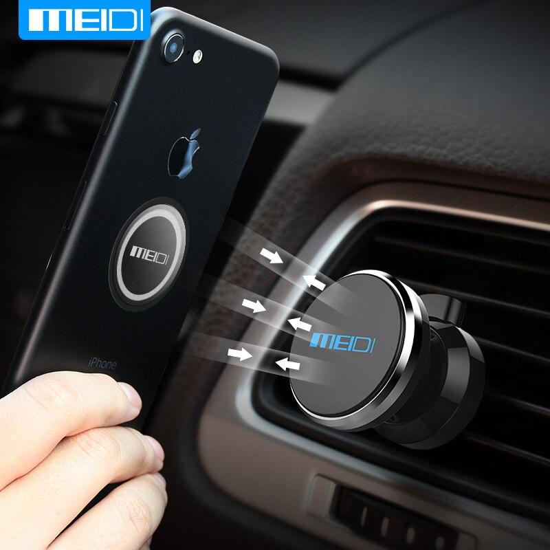 MEIDI soporte sostenedor del teléfono del coche soporte de montaje de ventilación de aire para móvil para iPhone y muchos otros teléfonos móviles. soporte innovador en forma de C retráctil/ajustable para iPhone Xiaomi Samsung soporte de teléfono magn...