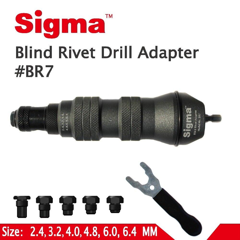 Sigma # BR7 adaptateur de perceuse à Rivet Pop aveugle robuste adaptateur de perceuse électrique ou sans fil