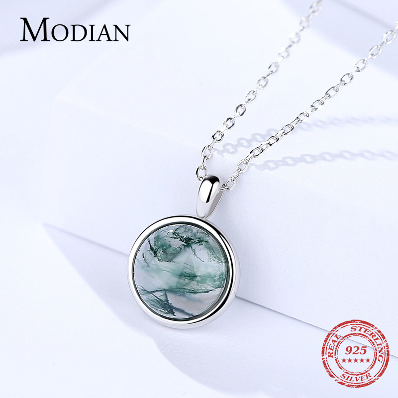 New Green Round Pendant Necklace for Women Sterling Silver Short Necklace with Pendants Watercolor Style Jewelry Necklaces 8d255f28538fbae46aeae7: Pendant with 40cm Ch|Pendant with 45cm Ch