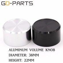 38x22mm Black Silver Aluminum AMP Volume Potentiometer Knob Turntable Radio DAC Sound Control Button Cap