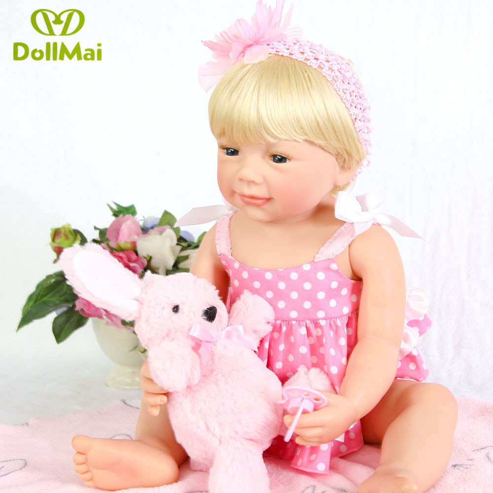 Blond Princess Anna 22in 55cm Lovely Reborn Doll All Silicone Reborn Baby Dolls Lifelike Bebes Play House Toys Birthday Gift