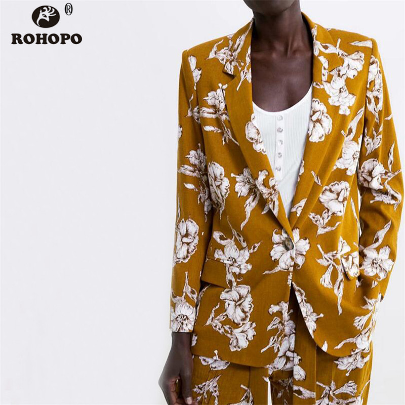 ROHOPO Women Blazer Autumn Single Button Printed Outwear Ladies Vogue Floral Morning Glory Casual Blazer #OYK9672