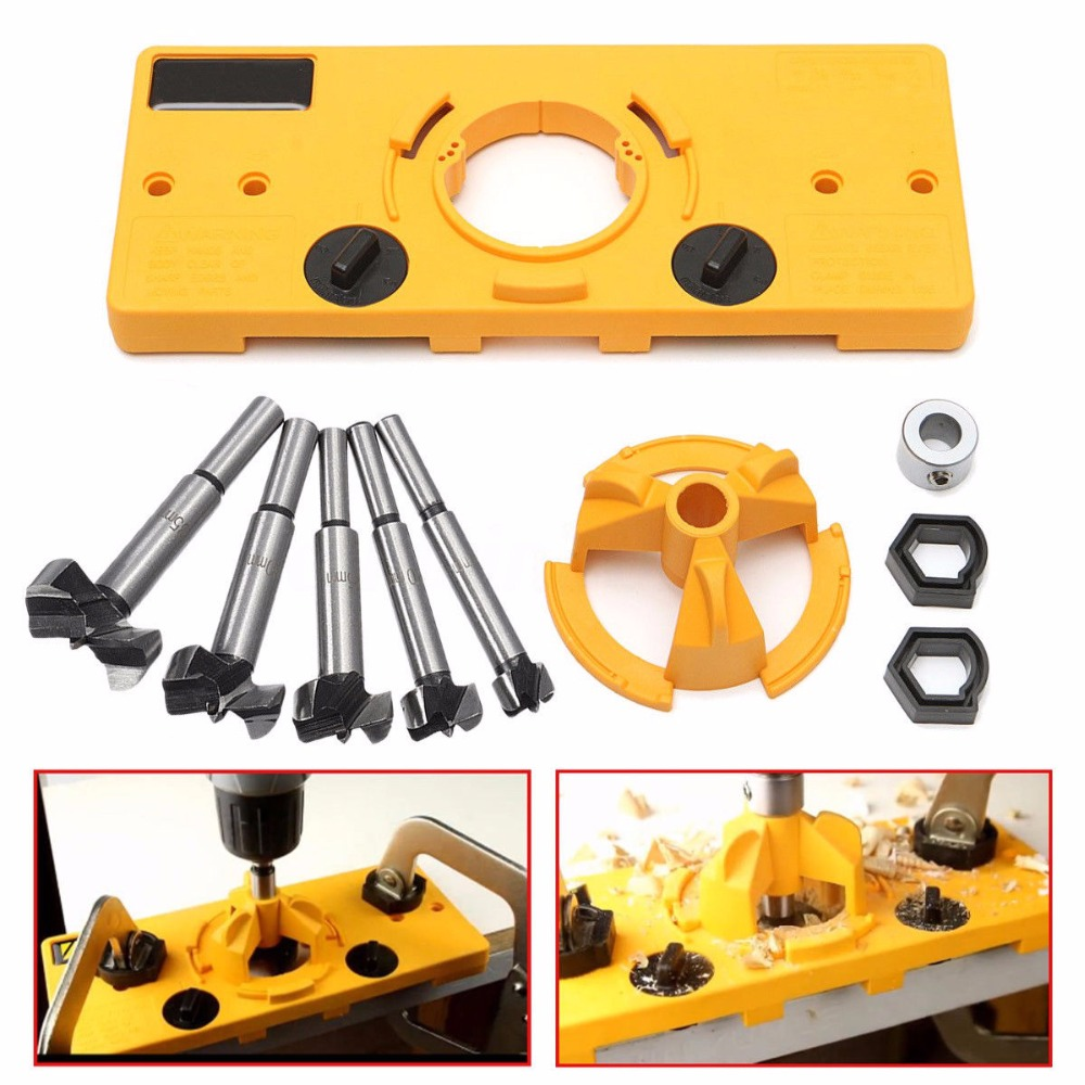 Concealed 35MM Cup Style Hinge Jig Boring Hole Drill Guide + Forstner Bit Wood Cutter Carpenter Woodworking DIY ToolsConcealed 35MM Cup Style Hinge Jig Boring Hole Drill Guide + Forstner Bit Wood Cutter Carpenter Woodworking DIY Tools