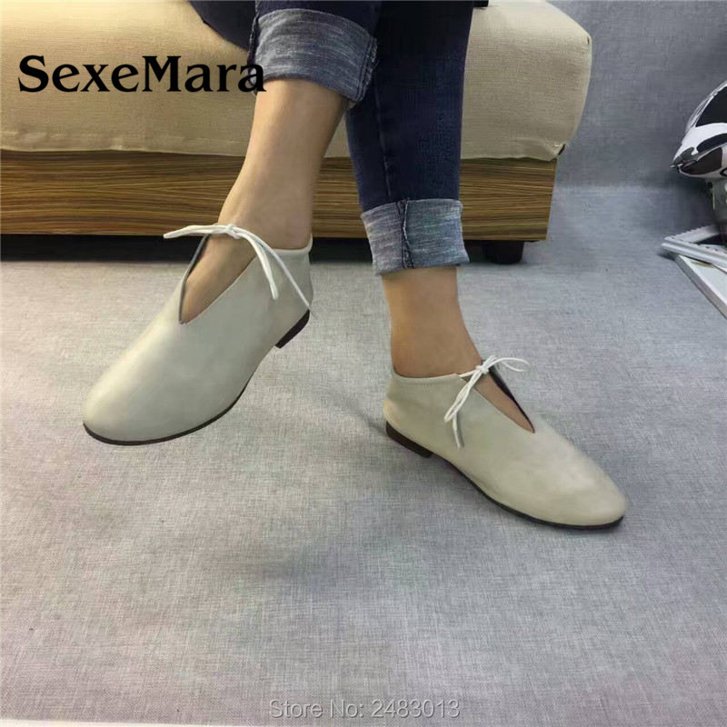 SexeMara New Original Handmade Women Genuine Leather Shoes Lace soft Cowhide Loafers Real Skin Ladies Shoes Driving female Shoes