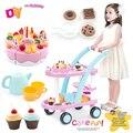 60pcs Kids Kitchen Toys Birthday Cake Carts Toys Pretend Play Plastic Food Toys Kitchen Cake Games Children Girl Cocina Juguete