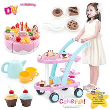 60pcs Kids Kitchen Toys Birthday Cake Carts Toys Pretend Play Plastic Food Toys Kitchen Cake Games Children Girl Cocina Juguete