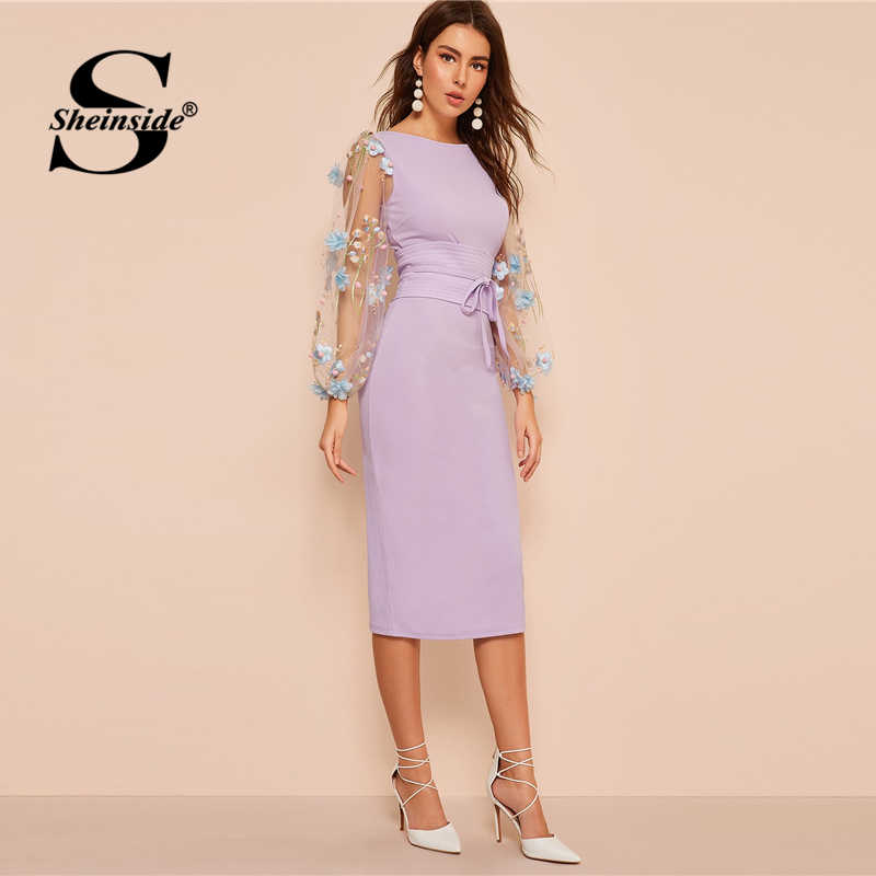 Sheinside элегантное женское платье с вышитой аппликацией и сетчатыми рукавами 2019 весеннее облегающее платье с рукавом-фонариком женское платье с поясом