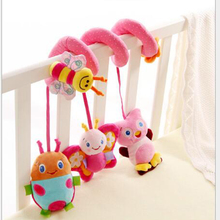 2016 Hot plush Toys Baby Appease Pink Bees Bed Around Belt Music Rattles loud Paper Filling Infant Educational Toys Gift X311