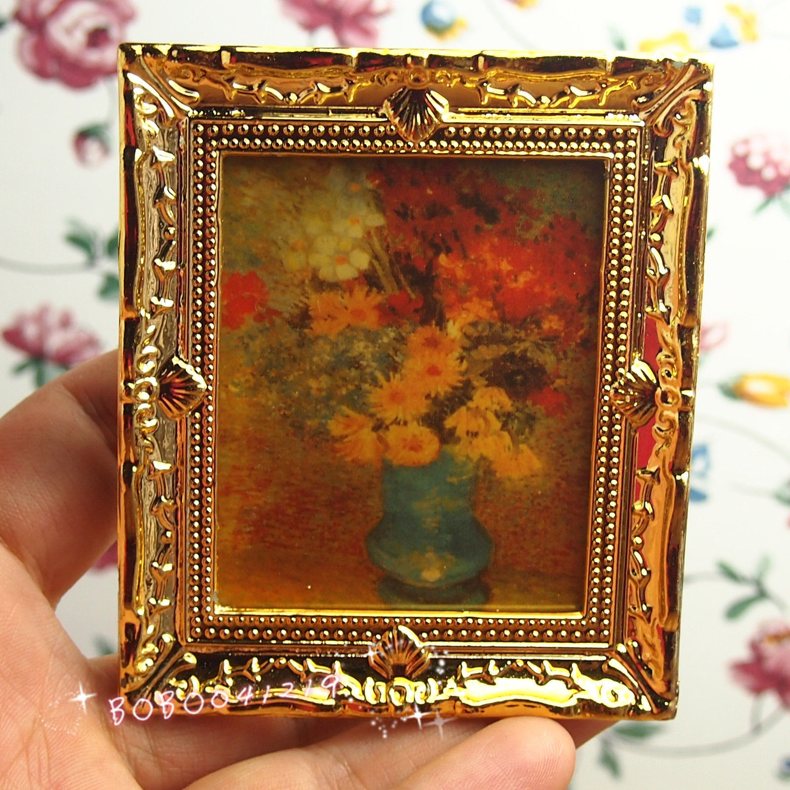 Dollhouse Miniature 1:12 Toy Frame Picture Tableau On Canvas Flower ...