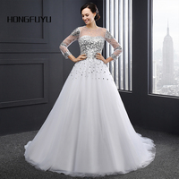 Newest White Real Photo A Line Scoop Neck Tulle Long Wedding Dresses 2018 Beading Lace Up