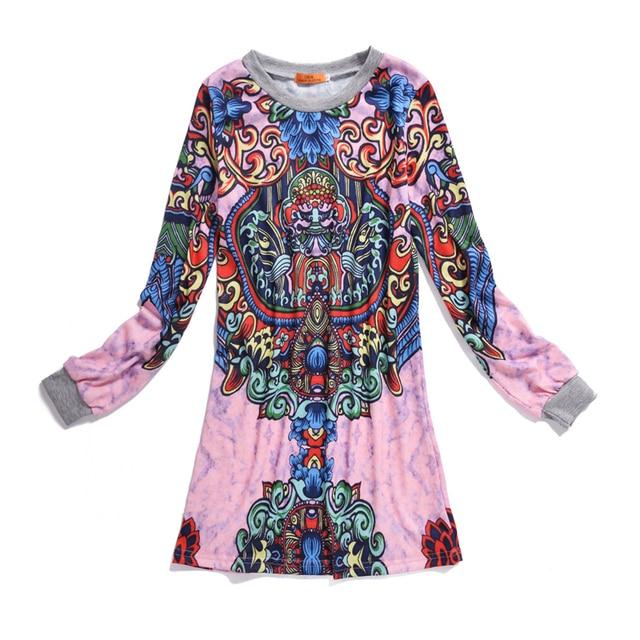 2017 Spring India Ethnic Women Dresses Long Sleeve Above Knee Floral Sexy Mini Dress Vintage Summer Party Hippie Boho Beachwear