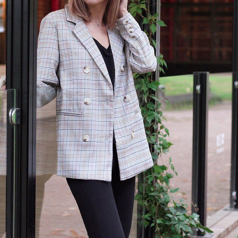 Casual Plaid Women Blazer Jacket Notched Collar Double Breasted Female Suit Coat Fashion Outerwear blaser femme Jacket 3