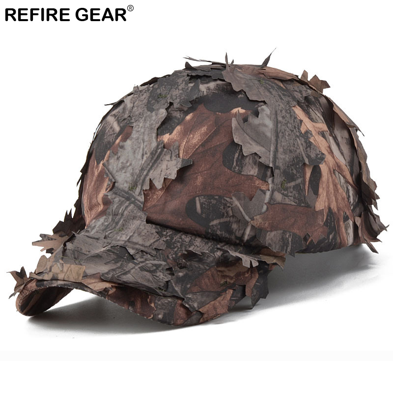 ReFire Gear Mens Camouflage Cap Jungle Leaves Conceal Camo Outdoor Cap Quick Dry Hiking Snapback Hat Fishing Hunting Caps