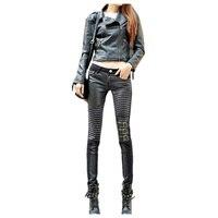 Alta qualidade PU calças de couro para as mulheres da moda calça Casual pés calças lápis de jeans para mulher-Preto,