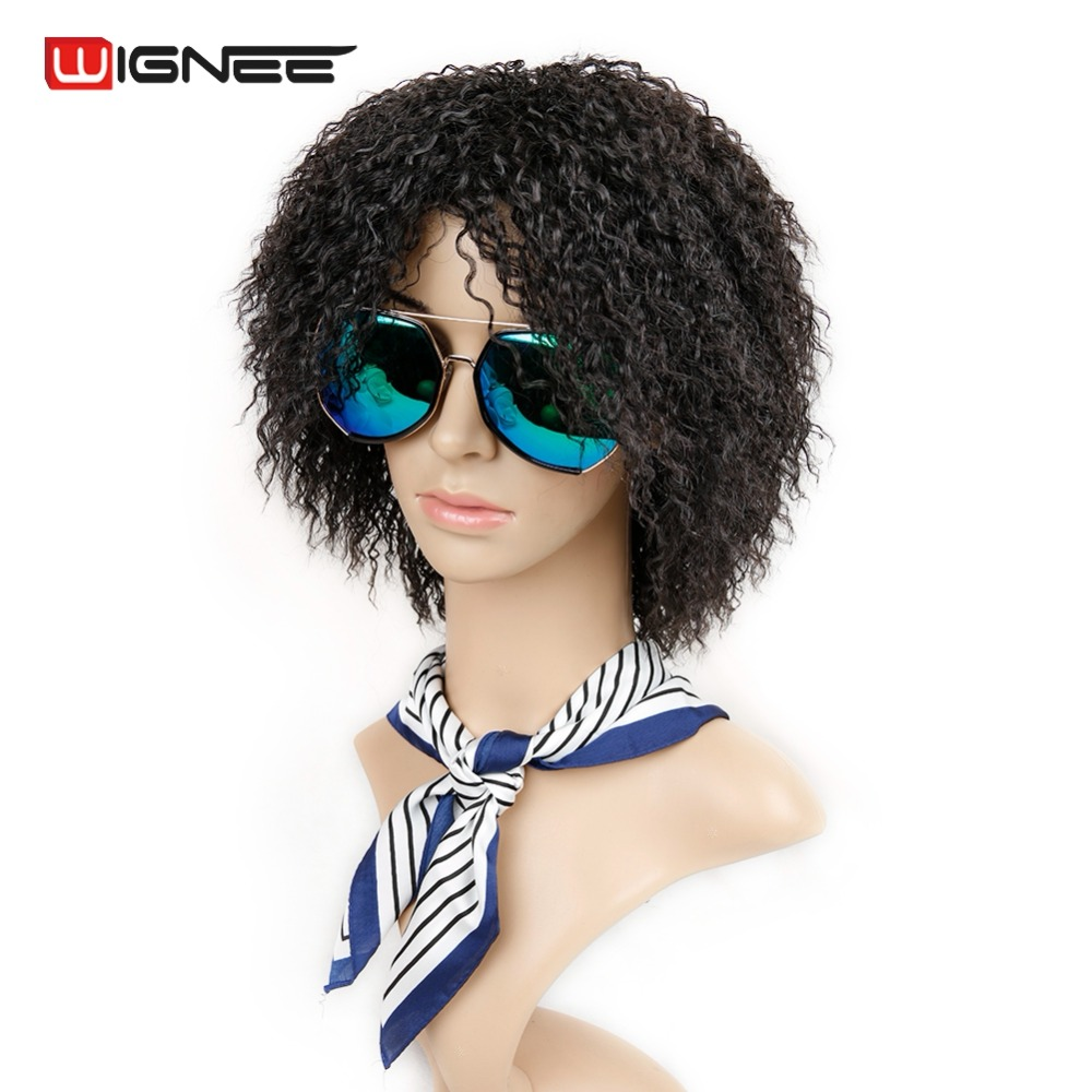 Wignee Short Length Afro Kinky Curly Wigs For Black/White Women High Temperature Synthetic Fiber Cosplay Female Fake Hair Wig