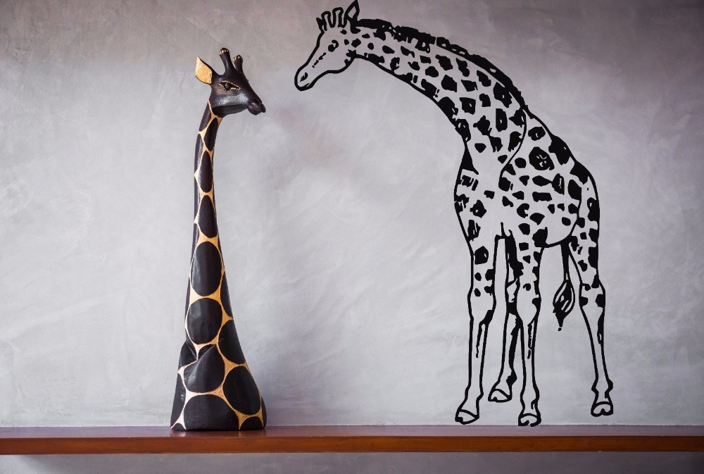 Giraffe Vinyl Wall Decal Animals Jungle Safari African Animal Giraffe Mural Art Wall Sticker Bedroom Living Room Home Decoration