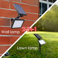 2-em-1 de iluminação ao ar livre lâmpada de parede solar LED gramado lâmpada 2200 Mah 48 LED 300lm 3 modos super bright lâmpada quintal Jardim luz