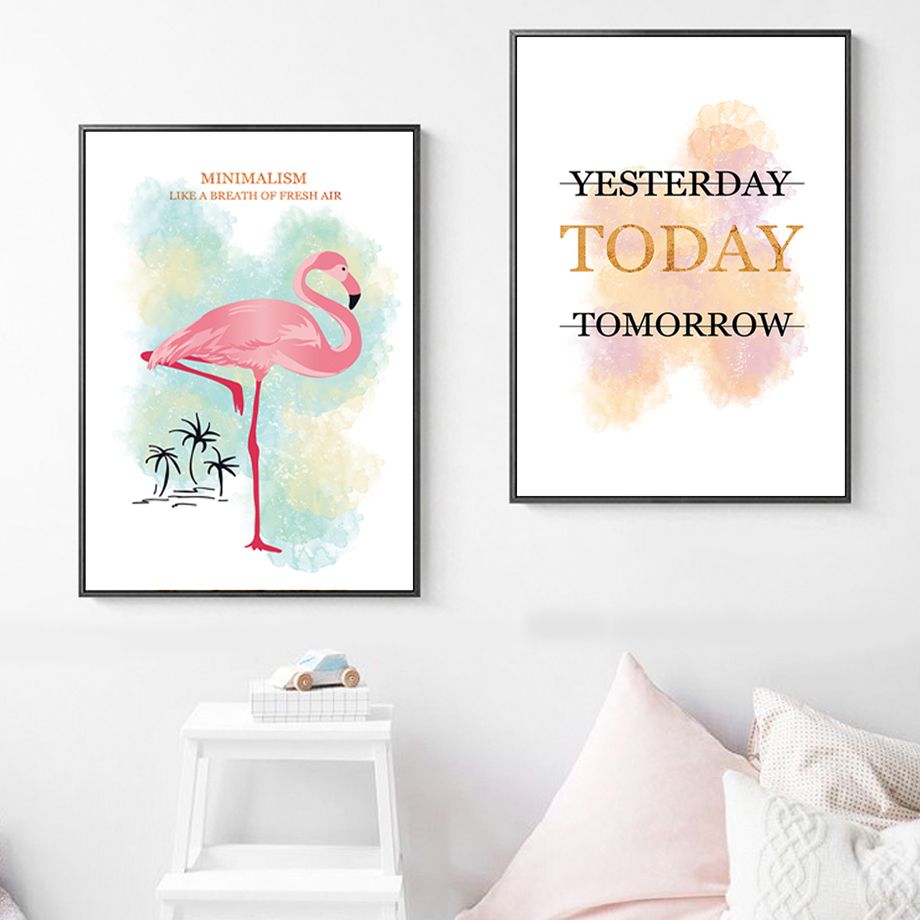 Watercolor Cartoon Pink Flamingo Tree Nordic Posters And Prints Wall Art Canvas Painting Wall Pictures For Living Room Decor in Painting Calligraphy from Home Garden