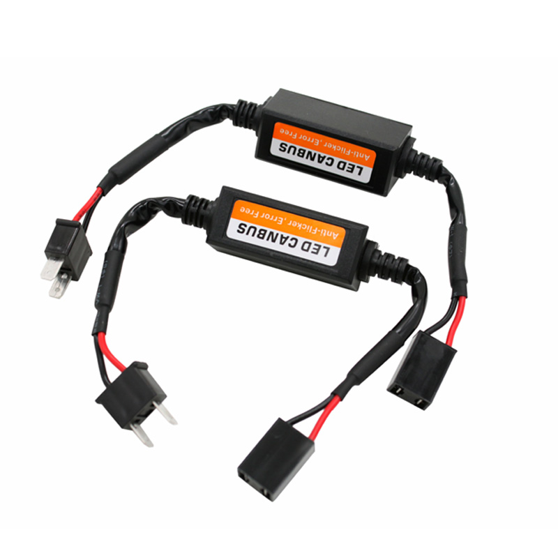 2x Car LED Headlight Fog Lamp H7 Error Free No Flickering Canceller Capacitor Load Resistor Canbus Decoders Wire Harness Adapter 2pcs car led headlight decoder fog light drl no error load resistor no flickering warning canceller 9005 9006 hb3 hb4