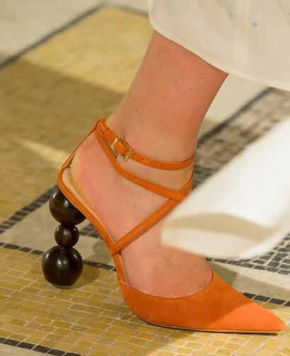 Прямая поставка; брендовые Женские однотонные пикантные вечерние туфли лодочки коричневого/черного/оранжевого цвета с перекрестными реме... - 4