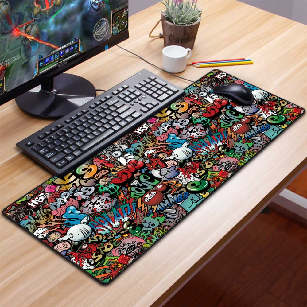 Extra Large Gaming Mouse Pad Gamer Old World Map Computer Mousepad Anti-slip Natural Rubber Gaming Mouse Mat Xl Xxl 900x400mm