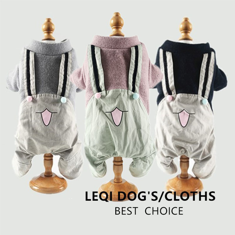 Cute Dog Clothes For Small Dogs French Bulldog Cotton Jumpsuit Winter Warm Overalls For Chihuahua Yorkshire Pet Puppy Costume