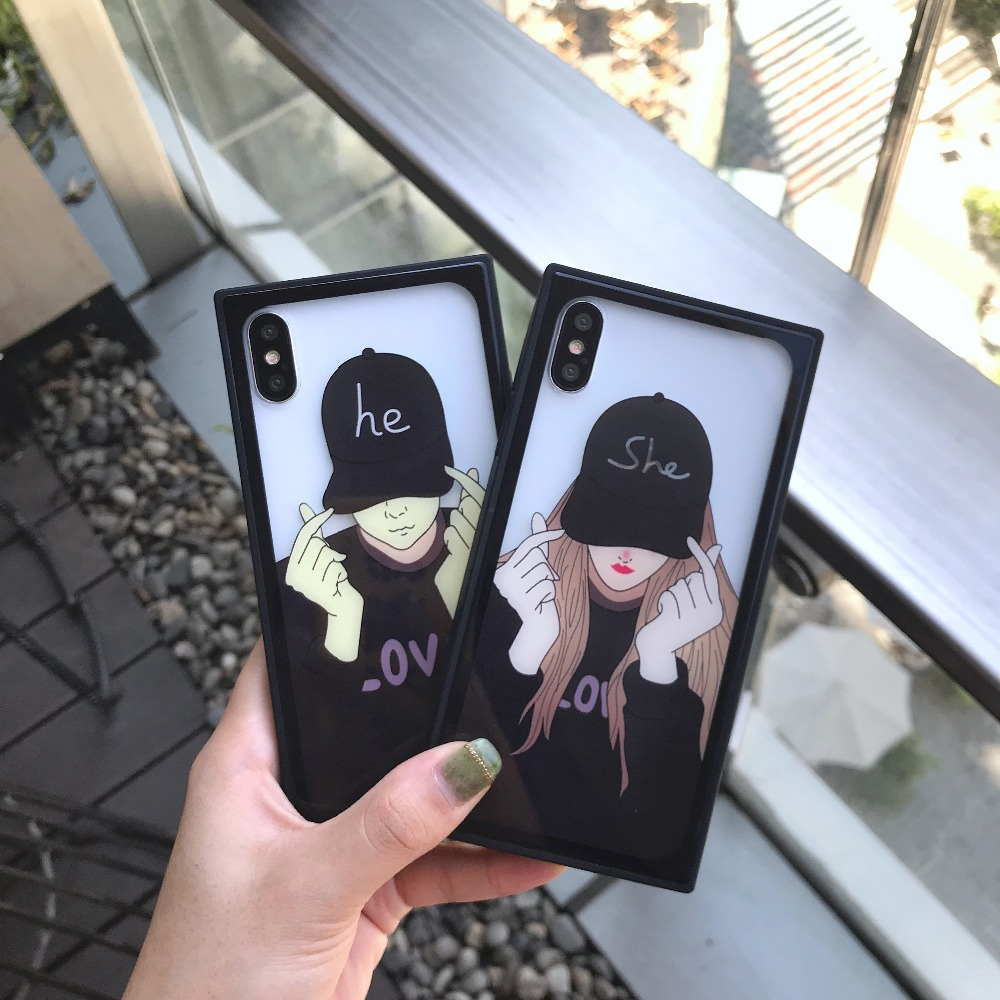 Fashion R&B boy and girl couple Phone case For iphone 7 7plus Hip-hop case for iphone X 6 6plus 8 8plus square protective case