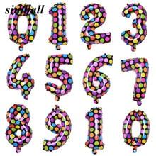 16 Inch Stip 0-9 Aantal Folie Ballonnen Digit Helium Ballons Verjaardag Bruiloft Decor Air Ballonnen Event feestartikelen