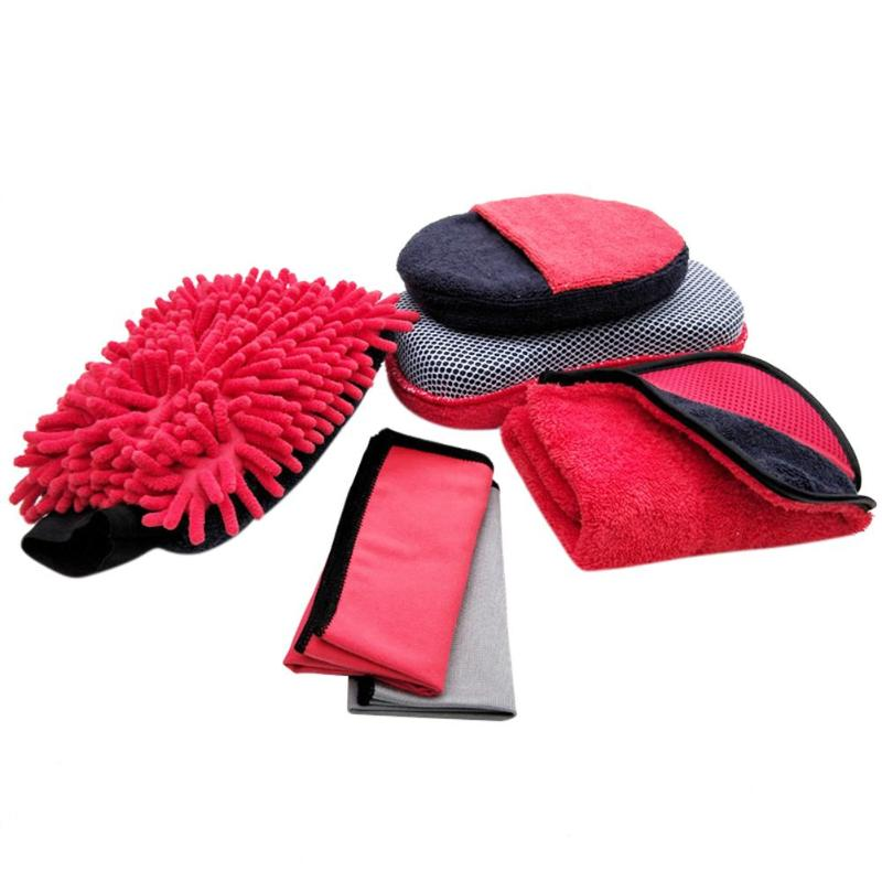 VODOOL 7pcs Car Care Cleaning Brushes Kit Chenill Glove+Towels+Sponge+Plastic Box, Car Cleaning Brush Car Motorcycle Care Washer