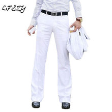 2019 New Mens Flared Trousers Formal Pants Bell Bottom Pant Dance White Suit pants For Men Size 28-37