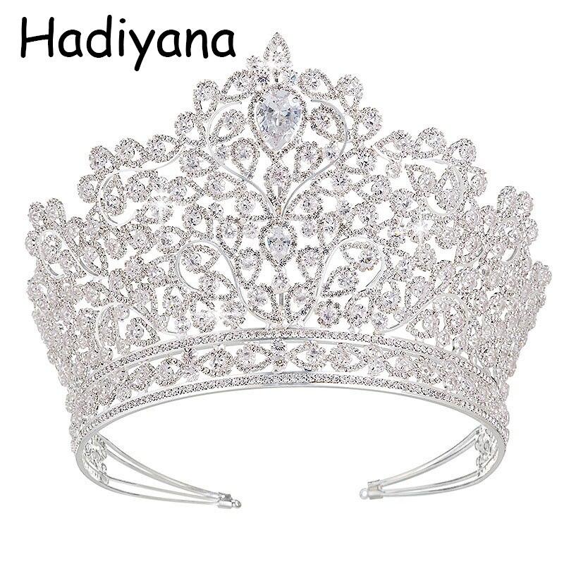 Hadiyana Luxury Princess Jewelry Tiaras and Crowns Headband New Love Bridal Big Wedding Hair Accessories Crown