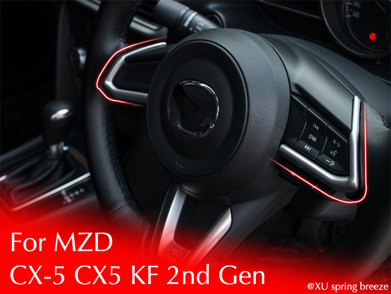 For Mazda CX-5 CX5 KF 2017 2018 2nd Gen Steering Wheel Decoration Trim Car Stickers Car styling steering wheel cruise control radio audio switch for mazda 10 13