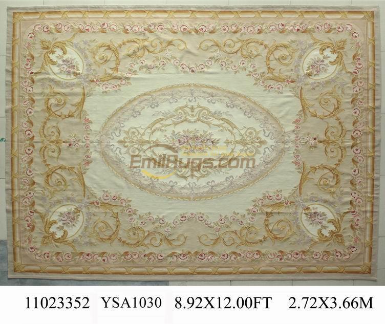 Fait à la main français Chic Antique tapis en Imitation de l'ancien européen Aubussen Antique français laine 19th siècle Aubusson tapis