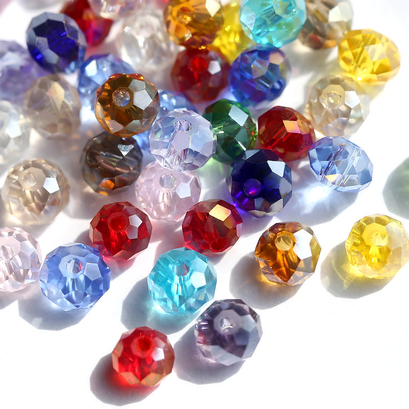 6-8mm plated AB Color faceted glass round beads crystal wheel beads Jewelry beads for bracelet necklace Jewelry making DIY