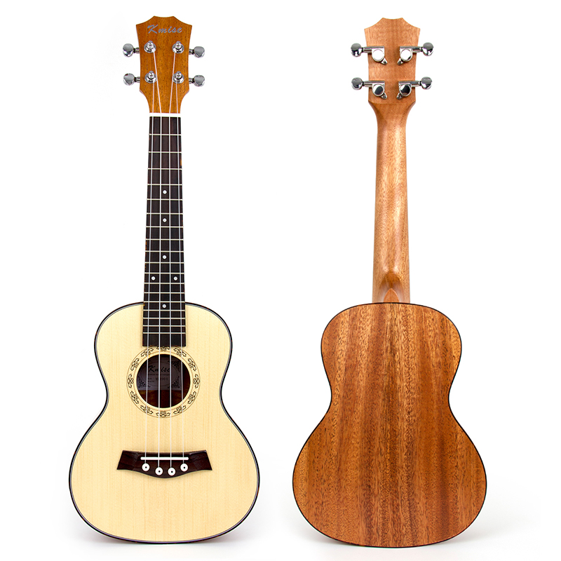 Kmise Ukulele Concert Solid Spruce Ukelele Uke 23 inch 18 Frets 4 String Acoustic Hawaiian Guitar electric ukulele acoustic solid top only 4strings guitar ox bone nut mahogany body red tortoise shell celluloid binding ukelele