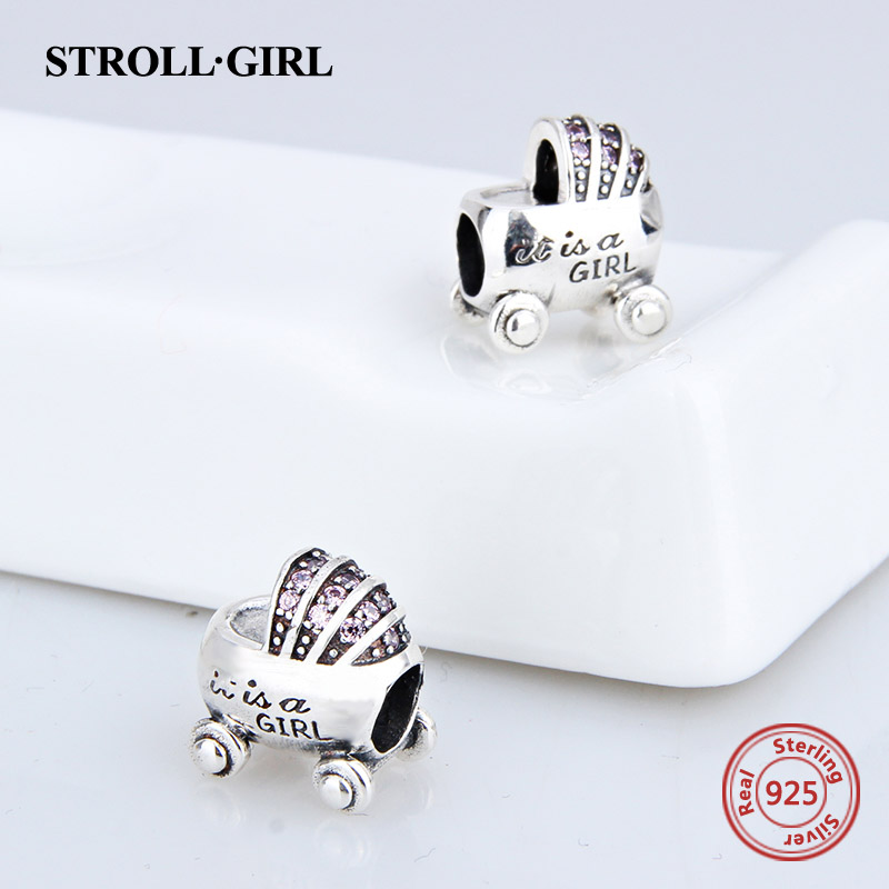 925 Sterling Silver Babys Car Charm Beads With CZ Fit pandora charm for jewelry Pendant DIY Jewelry Making For GIRLs Gifts