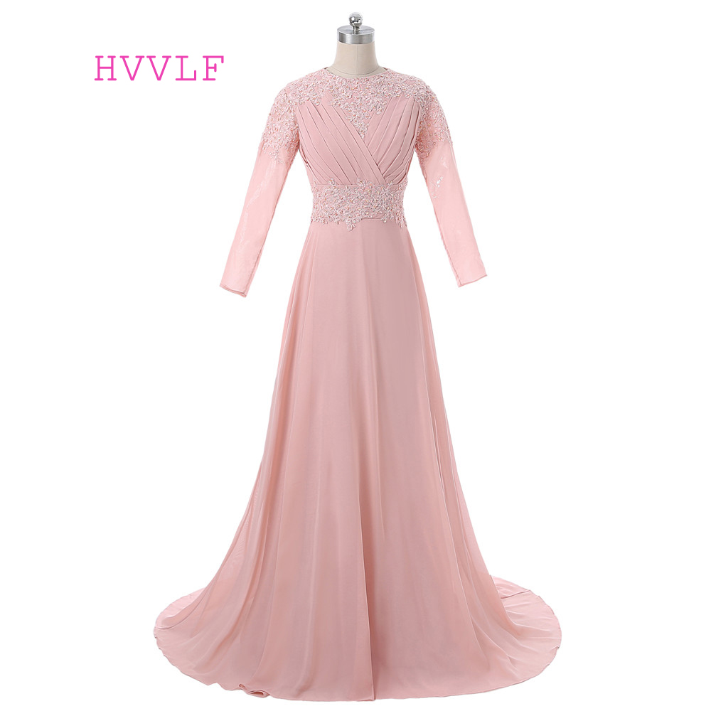 Peach 2019 Muslim Evening Dresses A-line Long Sleeves Chiffon Lace Islamic Dubai Abaya Kaftan Long Evening Gown Prom Dress