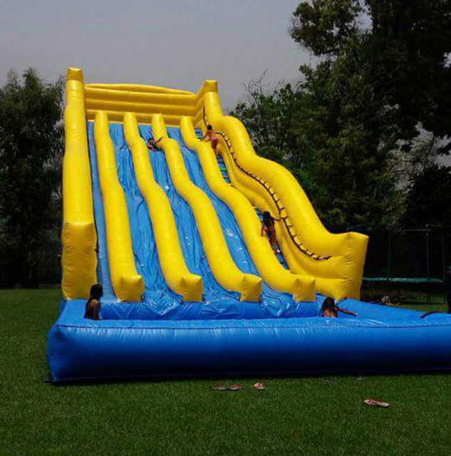 Inflatable Slide Commercial: Giant Inflatable Slide With Pool / Customized PVC