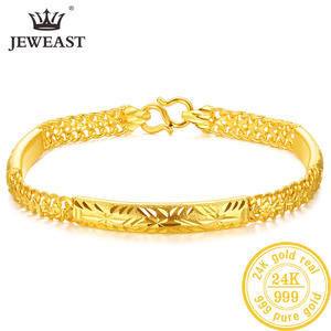 Bracelet Jewelry Gold Bangle Real-999 New 24K Solid Classic Romantic YLJC Beautiful Trendy