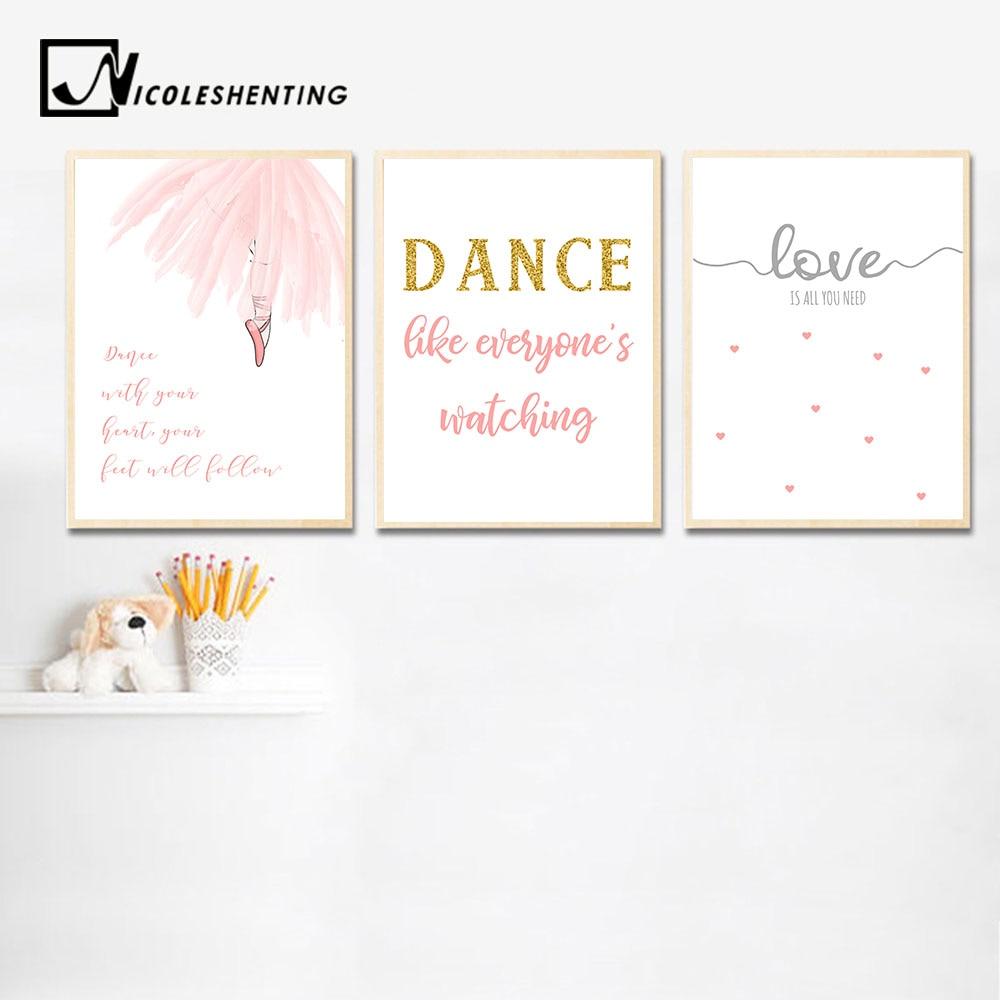 Baby Girl Nursery Wall Art Canvas Posters Ballerina Dance Prints Cartoon Painting Nordic Kids Decoration Picture Bedroom Decor