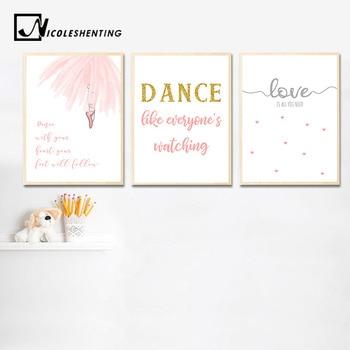 Kız Bebek çocuk Duvar Sanat Tuval Posterler Balerin Dans Baskılar