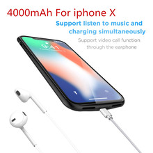 Battery Charger Case  4000mAh For iPhone X Power Case Portable Backup Power Bank Back Clamp For iPhone X Battery Case