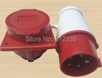 Free Shipping Three Phase 380V socket industrial socket and plug together sale use on generator 63a 125a 220v 240v industrial electrical socket plug wall mounted splash proof socket for single phase three wire