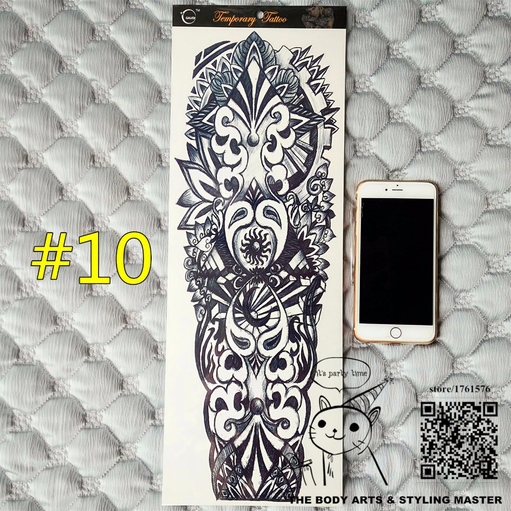 SHNAPIGN The Mayan Totem Full Sleeve Arm Temporary Body Art, Flash Tattoo Stickers 48*17cm Waterproof Adult Sex Products Henna
