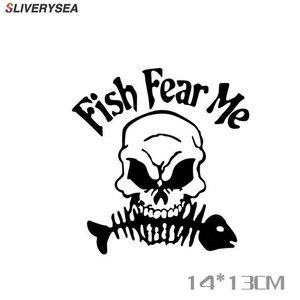Image 1 - SLIVERYSEA Scheletro di Pesce Da Pesca Auto sticker Adesivi Per Auto Riflettenti Casella di Pesca Decorazione Adesivi