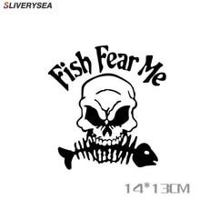 SLIVERYSEA שלד דגי דיג מדבקה לרכב רעיוני מדבקות לרכב דיג תיבת קישוט מדבקות